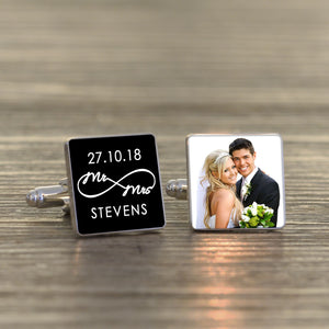 Personalised Mr & Mrs Infinity Wedding Photo Cufflinks from Pukkagifts.uk