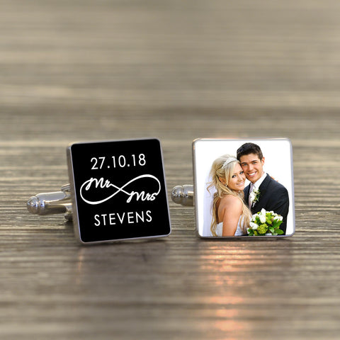 Personalised Mr & Mrs Infinity Wedding Photo Cufflinks