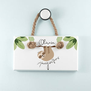 Personalised Sloth Hang In There White Hanging Sign