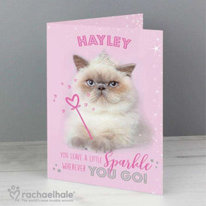 Personalised Rachael Hale Sparkle Cat Card from Pukkagifts.uk