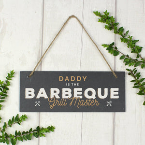 Personalised Barbeque Grill Master Printed Hanging Slate Plaque