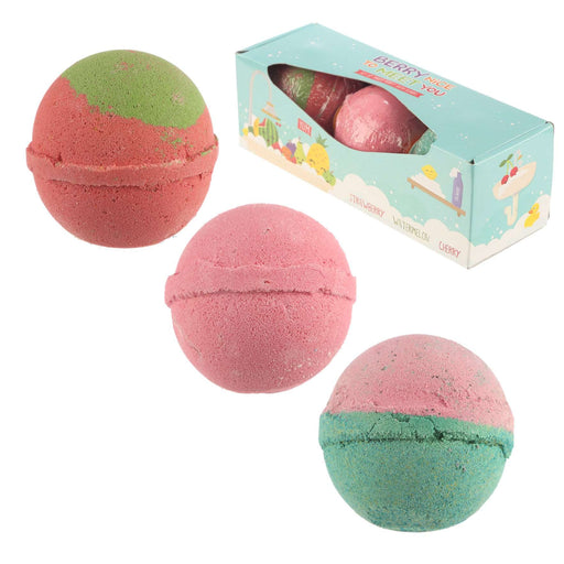 Set of 3 Berry Nice to Meet You Bath Bombs - Fruity Scents from Pukkagifts.uk