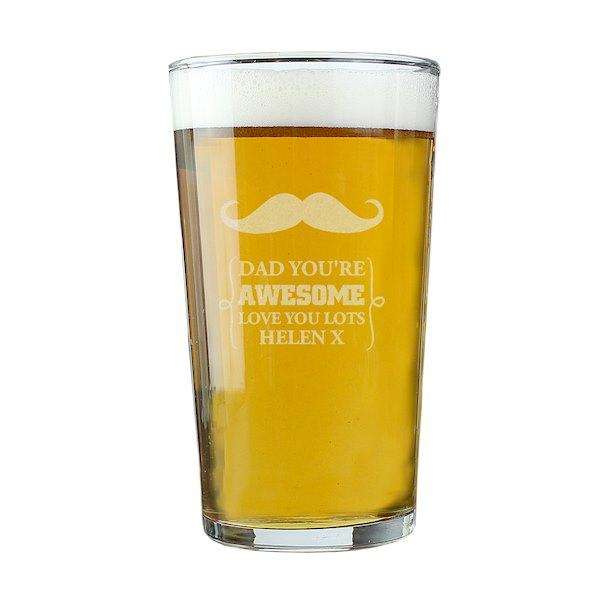 Personalised Moustache Pint Glass from Pukkagifts.uk