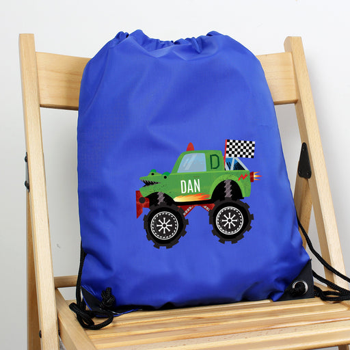 Personalised Monster Truck Blue Kit Drawstring Bag