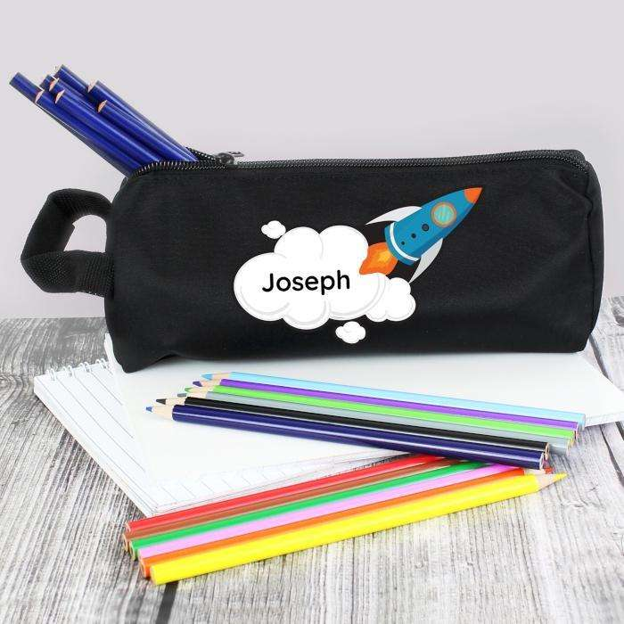 Personalised Kids Rocket Pencil Case from Pukkagifts.uk
