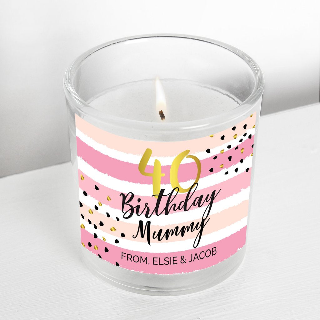 Personalised Birthday Gold and Pink Stripe Scented Jar Candle from Pukkagifts.uk