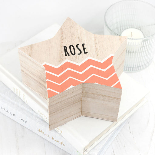 Personalised Orange Zig Zag Star Trinket Box