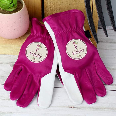 Personalised Floral Bouquet Medium Fuschia Gardening Gloves from Pukkagifts.uk