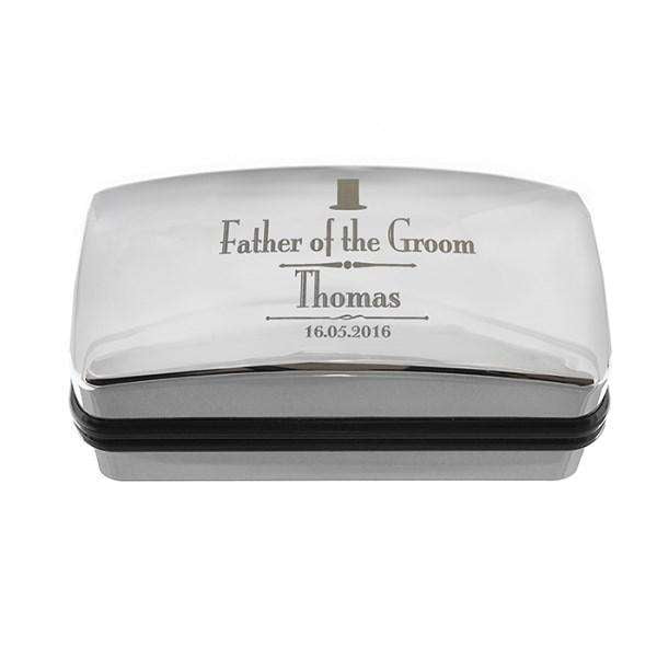 Personalised Decorative Wedding father of the Groom Cufflink Box from Pukkagifts.uk