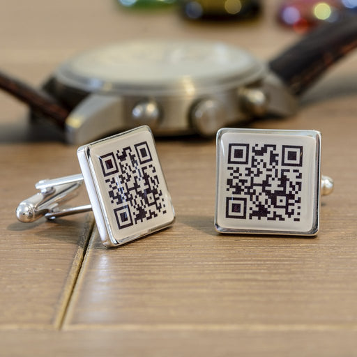 Secret Message QR Code Cufflinks from Pukkagifts.uk