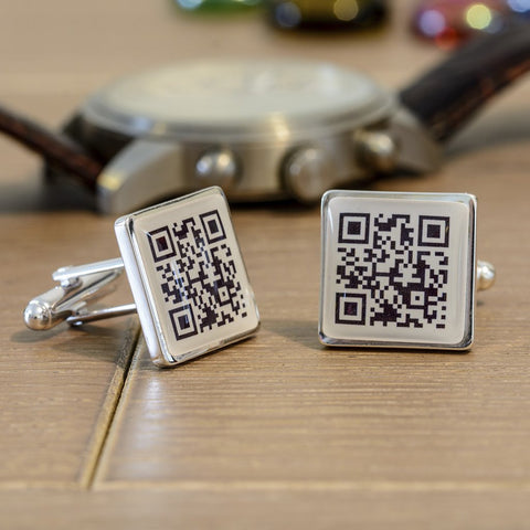 Secret Message QR Code Cufflinks