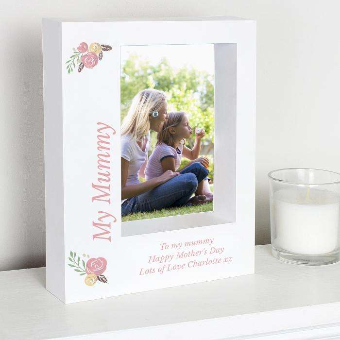 Personalised Floral Bouquet 5x7 Box Photo Frame from Pukkagifts.uk