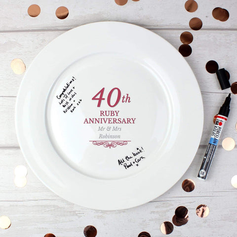 Personalised 40th Ruby Anniversary Plate