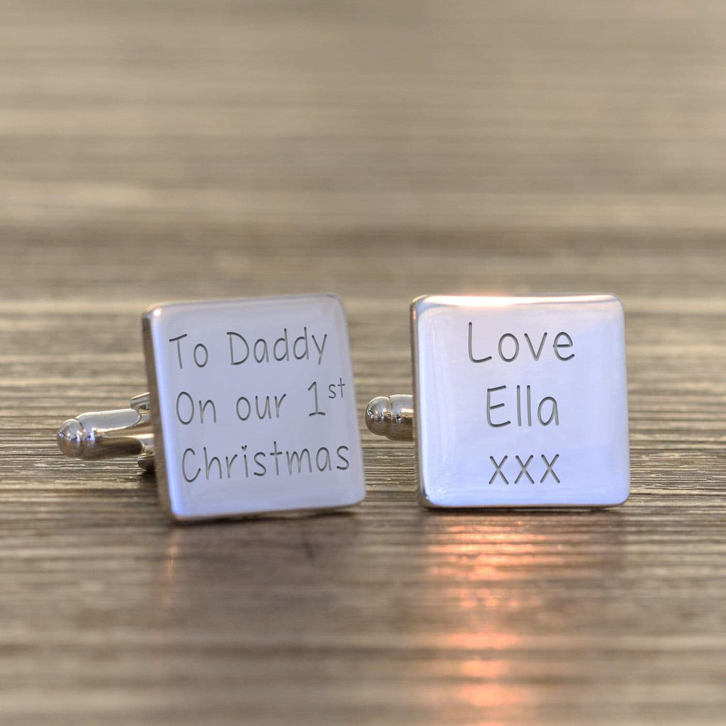 Personalised To Daddy On Our 1st Christmas Cufflinks from Pukkagifts.uk