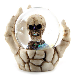 Set Of Four Skull Waterball Snow Globe in Skeleton Hand