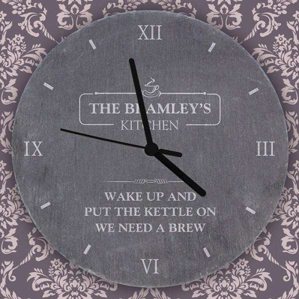 Personalised Kitchen Slate Clock from Pukkagifts.uk