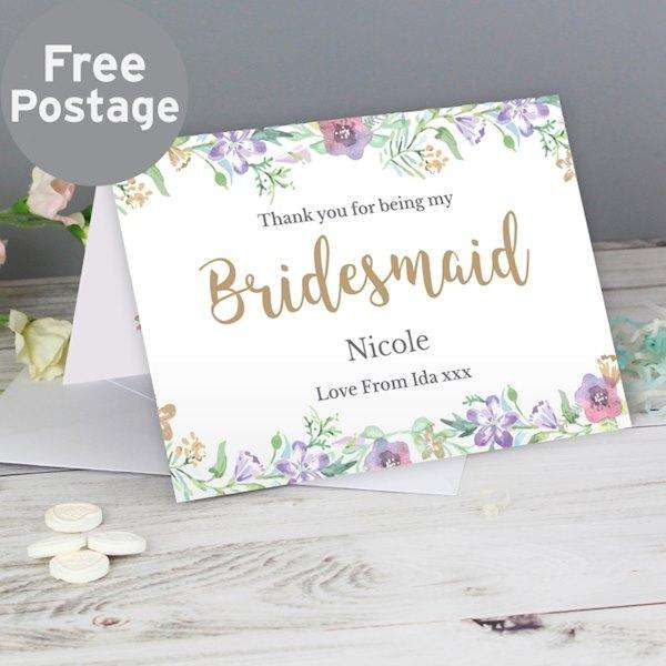 Personalised Thank You For Being My Bridesmaid Card from Pukkagifts.uk