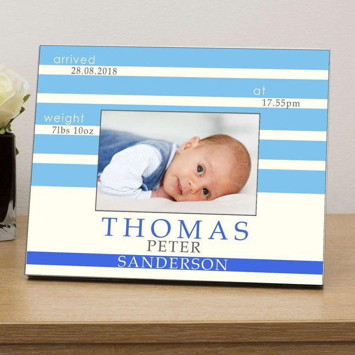 Personalised New Born Baby Boy Photo Frame 6x4 from Pukkagifts.uk