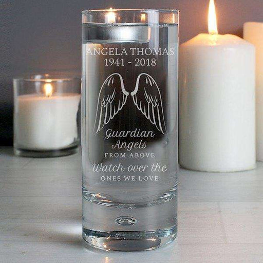 Personalised Guardian Angel Wings Floating Candle Holder from Pukkagifts.uk