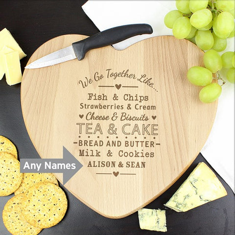 Personalised We Go Together Like Heart Chopping Board