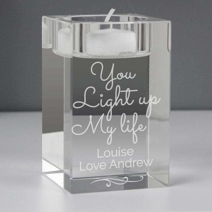 Personalised You Light Up My Life Glass Tea Light Holder from Pukkagifts.uk