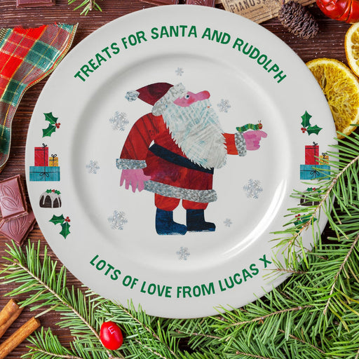 Personalised Very Hungry Caterpillar Treats For Santa 8″ Rimmed Christmas Plate