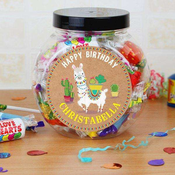 Personalised Llama Sweet Jar from Pukkagifts.uk
