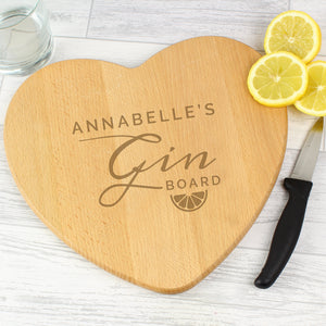 Personalised Gin Heart Chopping Board - Free UK Delivery