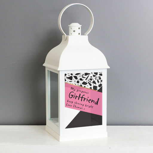 Personalised Pink & Black Rustic White Lantern
