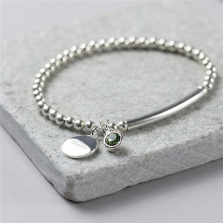 Sterling Silver Birthstone Stretch Bracelet