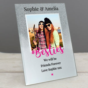 Personalised Bestie Glitter Glass Photo Frame 4x4 from Pukkagifts.uk