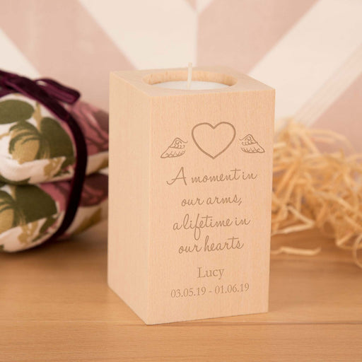 Personalised A Moment In Our Hearts Engraved Baby Memorial Wooden Tealight Holder