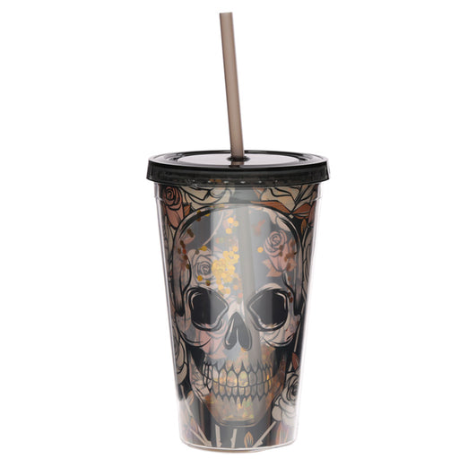 Skulls and Roses Plastic Double Walled Cup with Straw and Lid