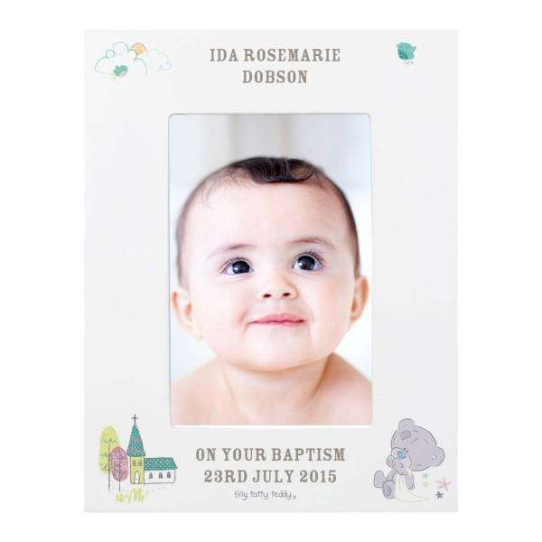 Personalised Tiny Tatty Teddy Christening 6x4 Frame from Pukkagifts.uk