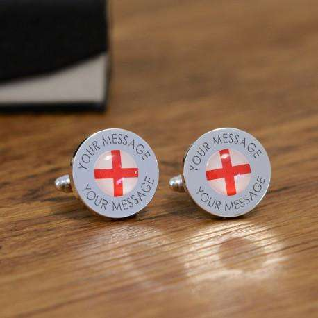 Personalised St George Cross England Flag Cufflinks from Pukkagifts.uk