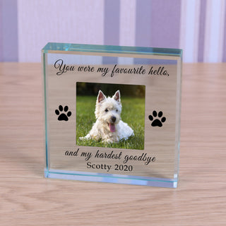 Personalised Dog Memorial Glass Token - Favourite Hello Hardest Goodbye