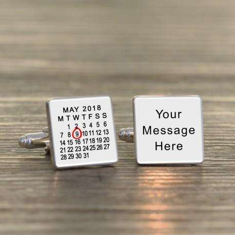 Personalised Any Date and Message Calendar Cufflinks from Pukkagifts.uk