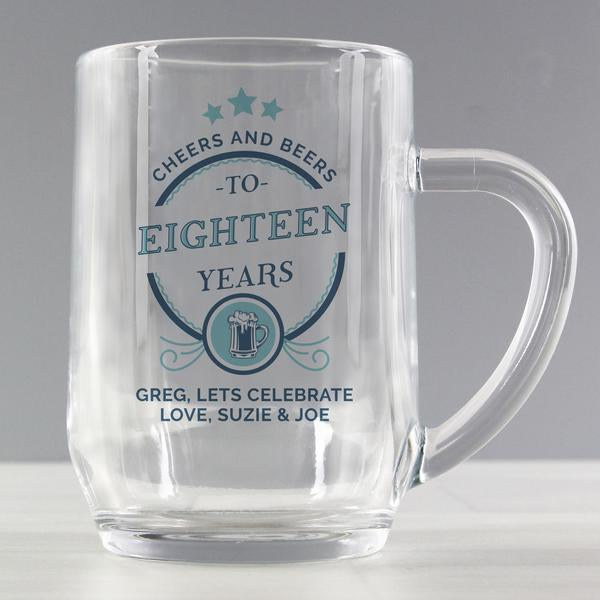 Personalised Birthday Cheers and Beers Tankard Glass from Pukkagifts.uk