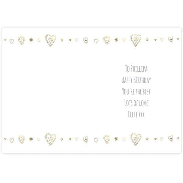 Personalised Gold Hearts Card from Pukkagifts.uk