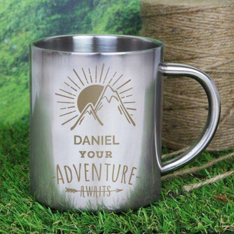 Personalised Adventure Awaits Outdoor Metal Mug from Pukkagifts.uk