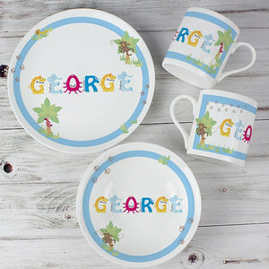 Personalised Animal Name Breakfast Set Blue