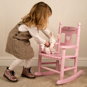 Personalised Engraved Wooden Child's Pink Rocking Chair