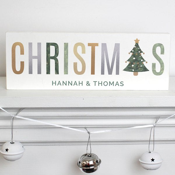 Personalised Christmas Wooden Block Mantel Sign Decoration from Pukkagifts.uk
