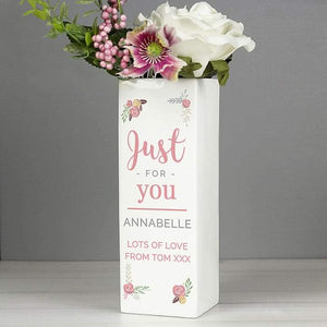Personalised Floral Bouquet Square Vase | Gift For Her | Mum | Wife | Grandma | Nan
