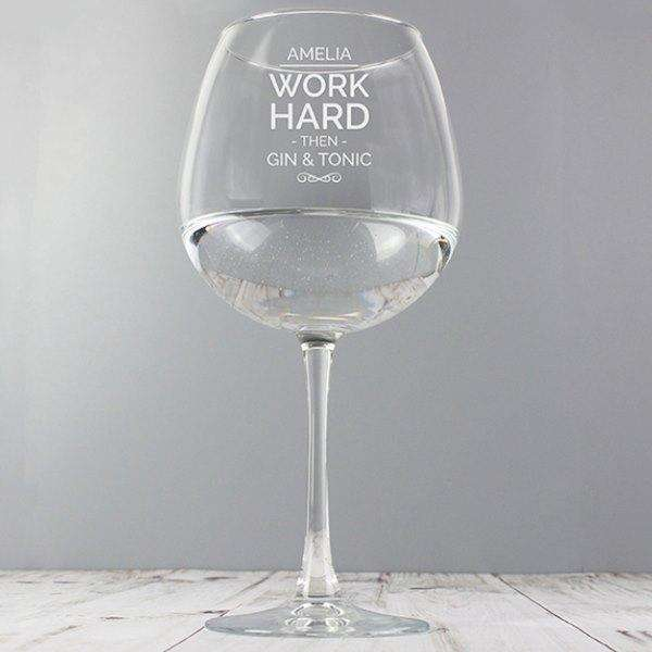 Personalised Work Hard Balloon Glass from Pukkagifts.uk