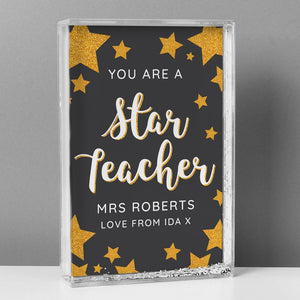 Personalised You Are A Star Teacher Glitter Shaker Keepsake from Pukkagifts.uk