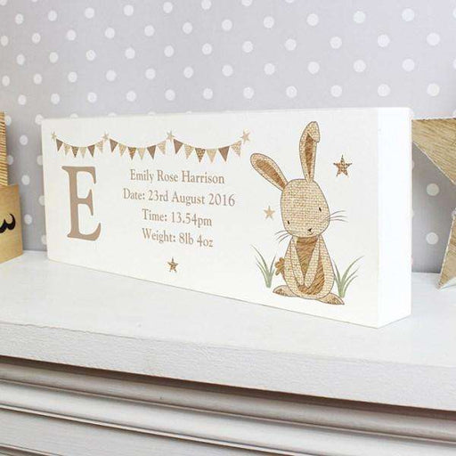 Personalised Hessian Rabbit Wooden Block Sign from Pukkagifts.uk