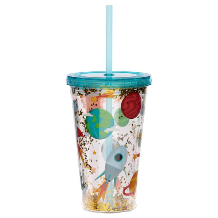 Space Cadet Plastic 500ml Double Walled Reusable Cup with Straw and Lid