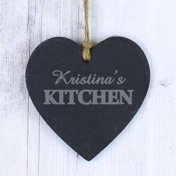 Personalised Kitchen Slate Heart Decoration from Pukkagifts.uk