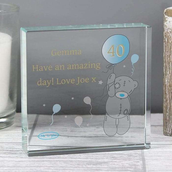 Personalised Me To You Balloon Birthday Large Crystal Token from Pukkagifts.uk